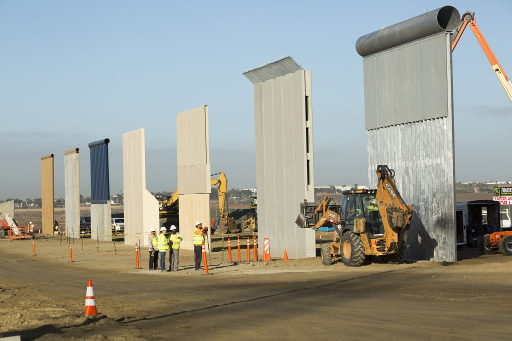 Various Border Wall Prototypes as they take shape during the Wall Prototype Construction Project near the Otay Mesa Port of Entry.